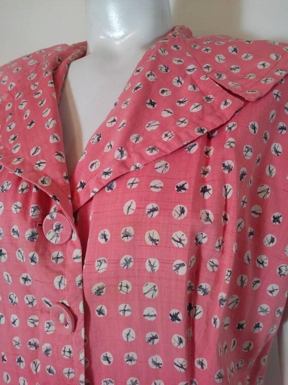 Vintage 40s cotton dress / 40s house dress / 40s … - image 4