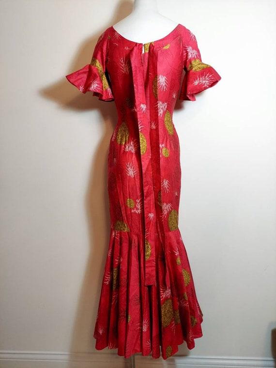 vintage 50s 60s Royal Hawaiian dress / hostess dr… - image 9
