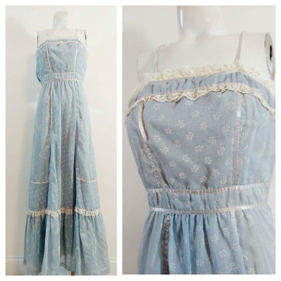 vintage Candi Jones dress  / 70s boho dress / gun… - image 1