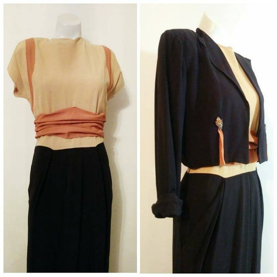 vintage 40s dress and jacket set / 40s dress with