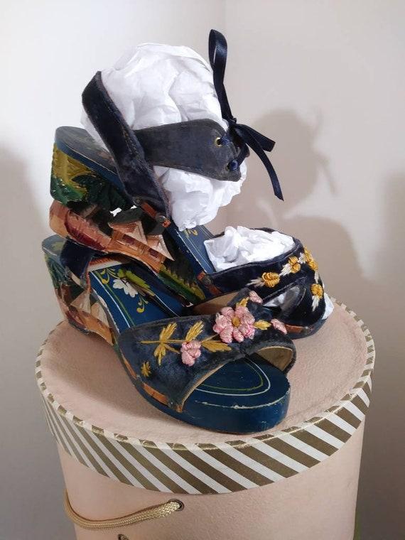 Vintage 40s platform sandals / 40s 50s Shoes / 40… - image 2