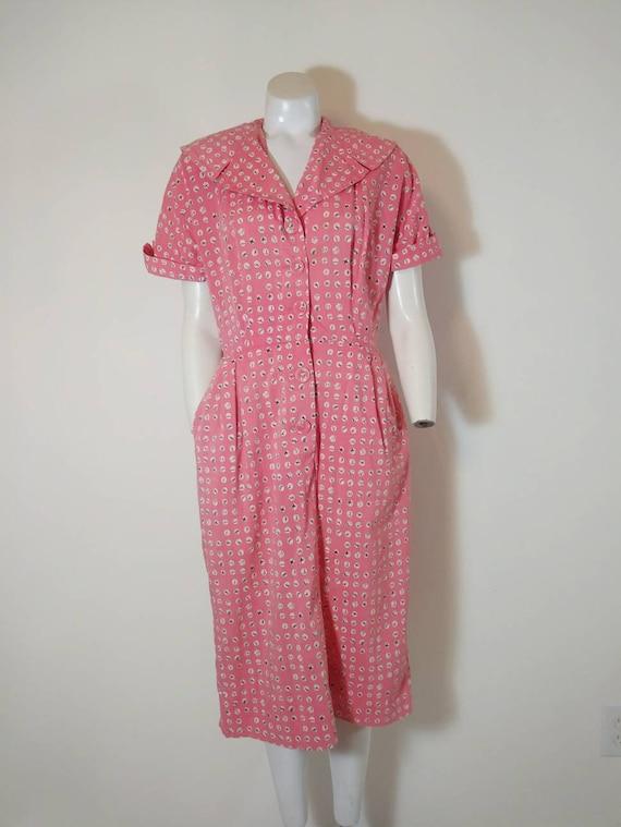 Vintage 40s cotton dress / 40s house dress / 40s … - image 2