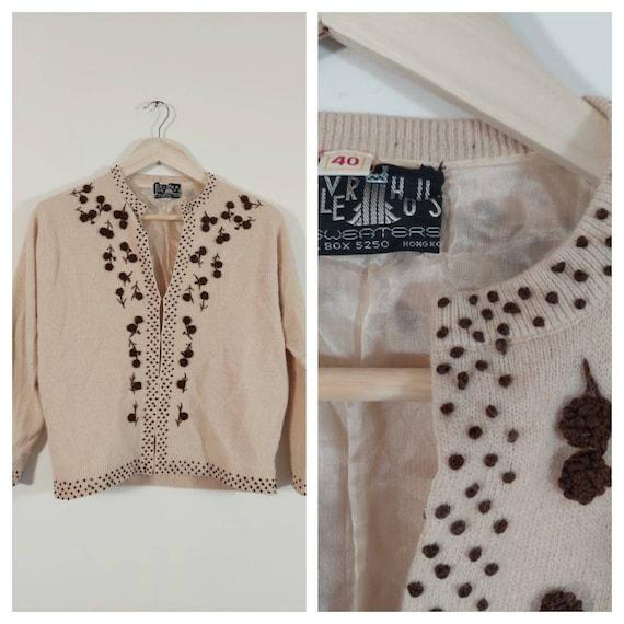Vintage 50s cardigan / 50s angora sweater / 50s pi