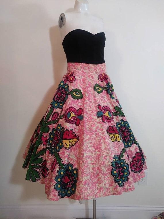 50s novelty print skirt / 50s full circle skirt /… - image 3