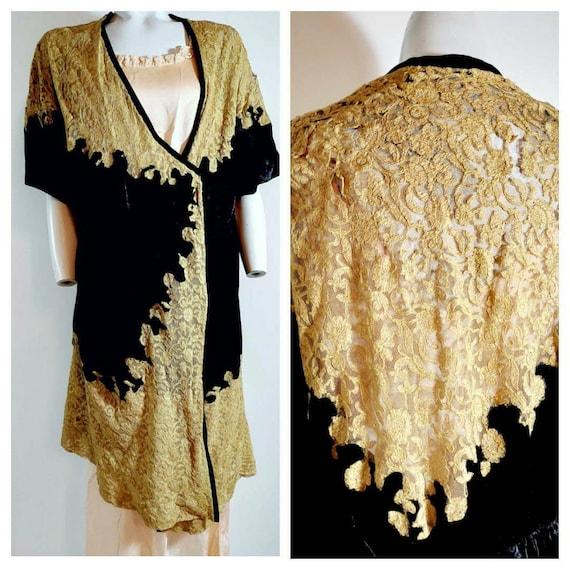 1920s 30s silk velvet robe wrap / 20s flapper lace