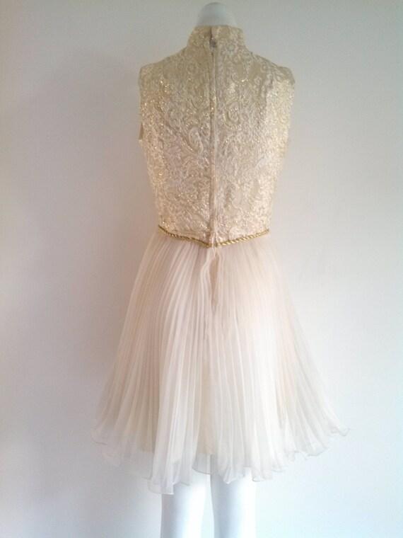 vintage 60s party Dress / vintage gold lame dress… - image 7
