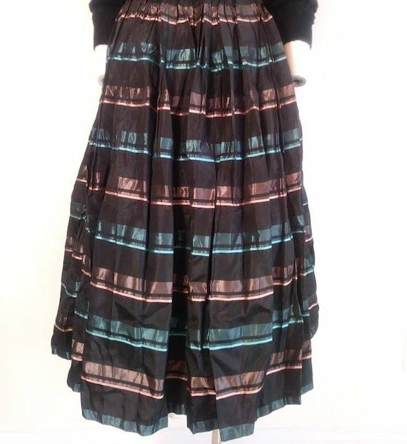 Vintage 50s striped skirt / 50s pleated skirt / 5… - image 5