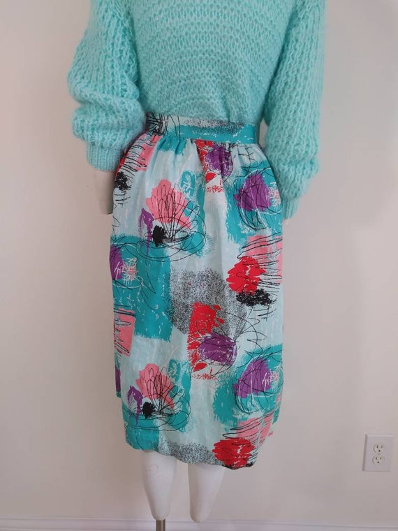 50s style cotton skirt / 80s abstract skirt / Roc… - image 7