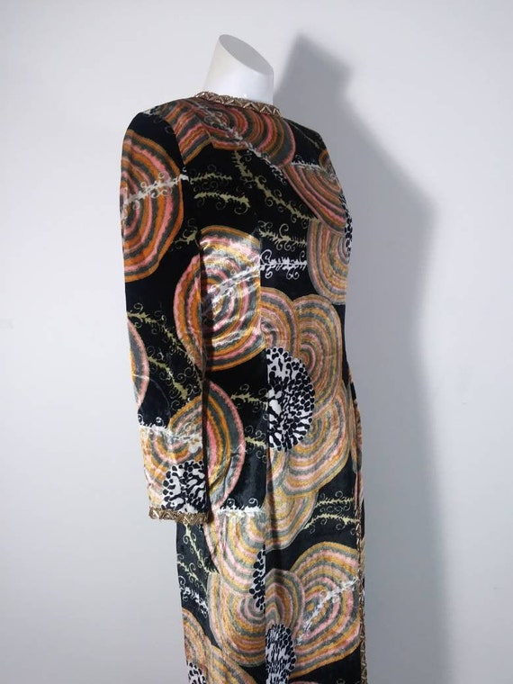 Vintage 60s velvet psychedelic cult dress / 60s mo