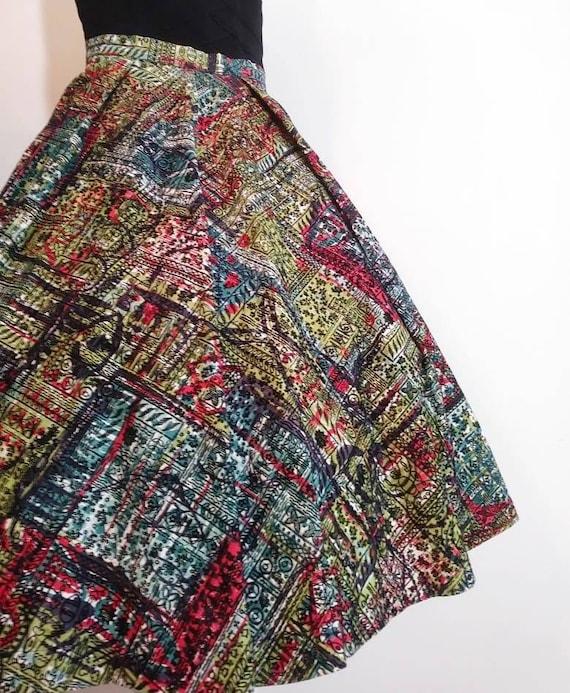 50s velvet print skirt / 50s full skirt / 50s Rock