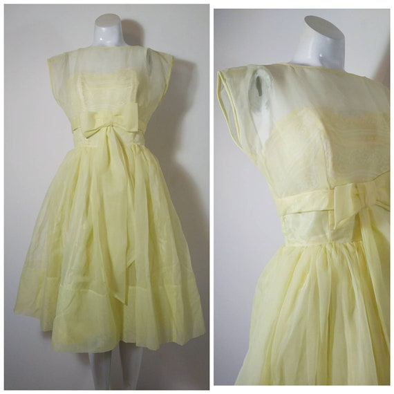 Vintage 50s party dress / 50s yellow dress / 50s p
