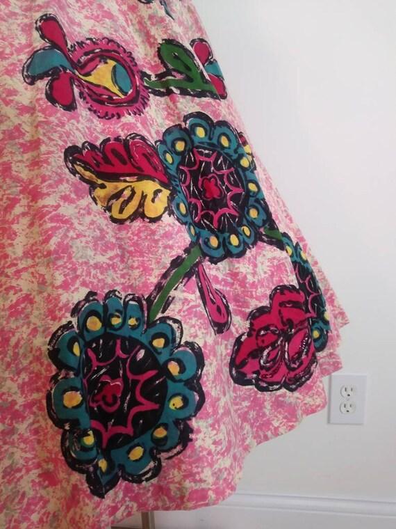 50s novelty print skirt / 50s full circle skirt /… - image 4