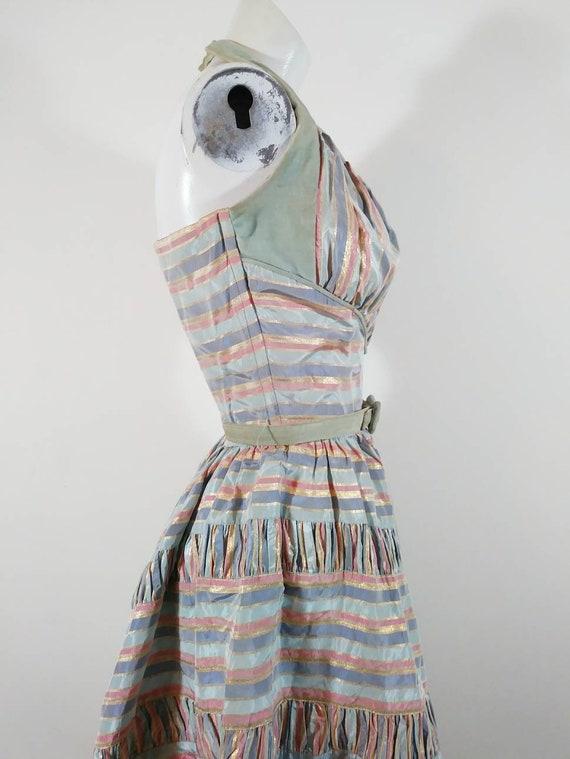 Vintage 50s cotton candy halter dress / 50s party… - image 6