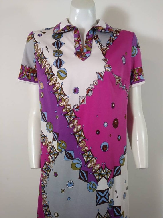 70s signed Saul dress / Pucci print style dress /… - image 1