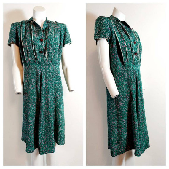 Vintage 30s 40s silk rayon dress / 40s novelty pr… - image 5