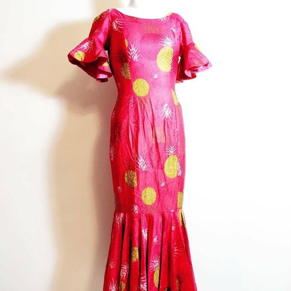 vintage 50s 60s Royal Hawaiian dress / hostess dr… - image 5