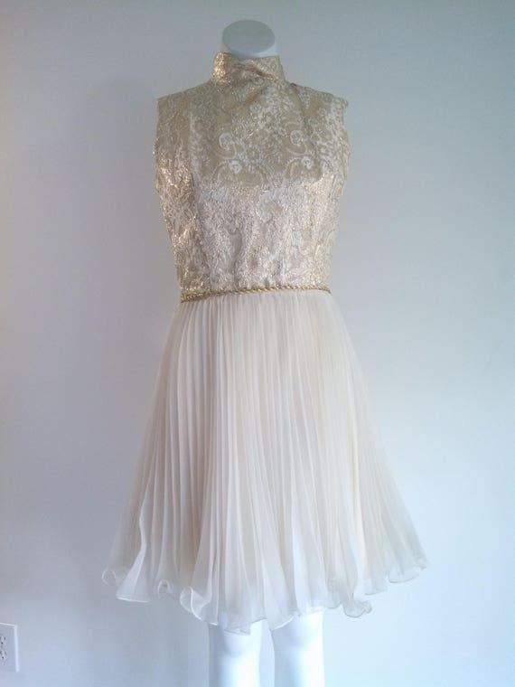 vintage 60s party Dress / vintage gold lame dress… - image 4