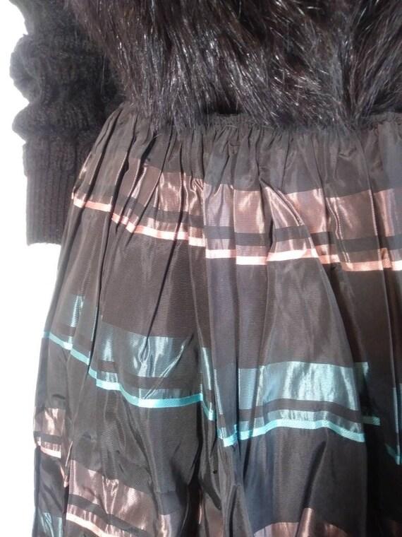 Vintage 50s striped skirt / 50s pleated skirt / 5… - image 8