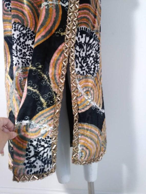 Vintage 60s velvet psychedelic cult dress / 60s m… - image 5