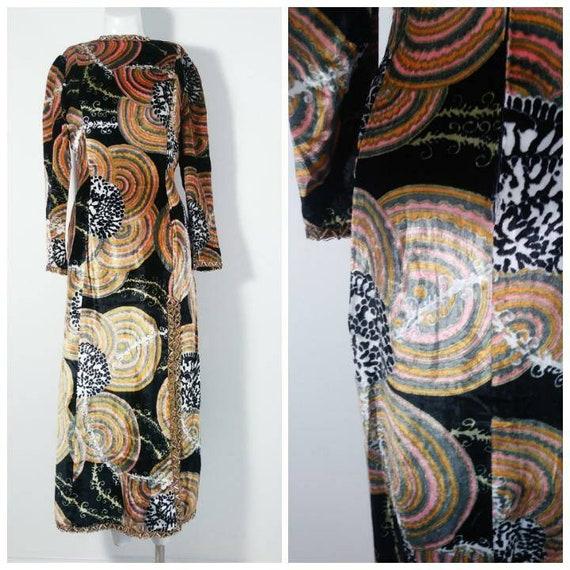 Vintage 60s velvet psychedelic cult dress / 60s m… - image 2