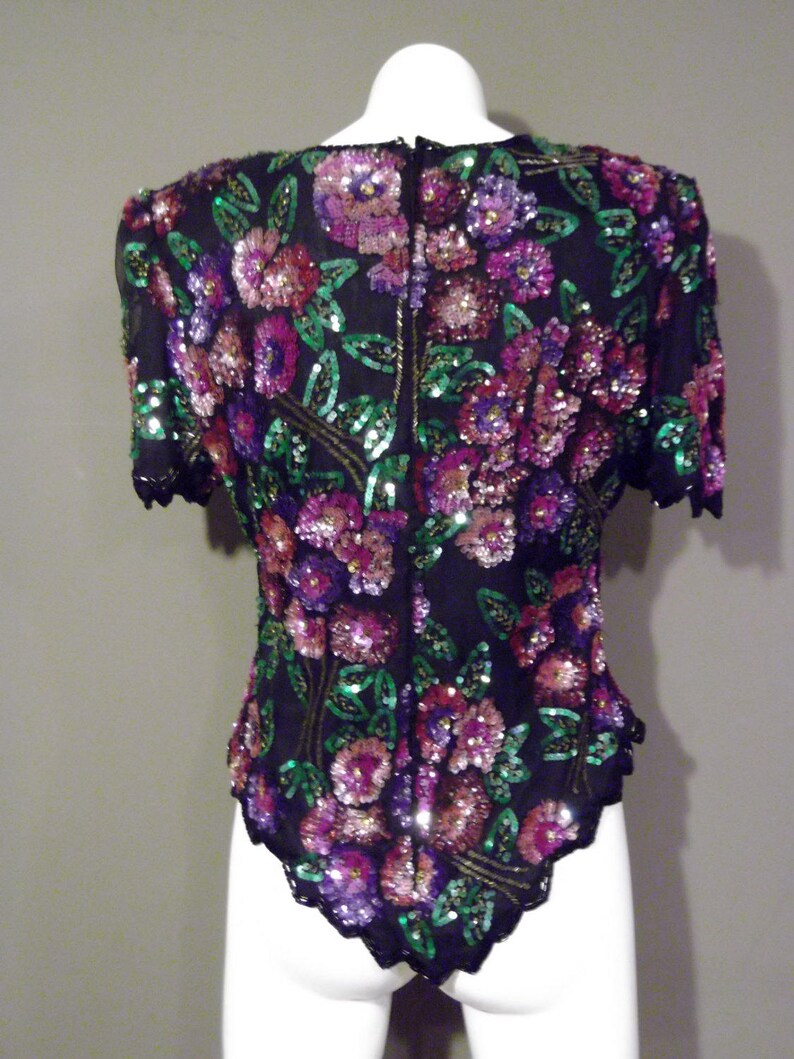 80s beaded sequin blouse  vintage 80s bead silk blouse  Laurence Kazar silk blouse  Vintage Sequin Top  80s party wear