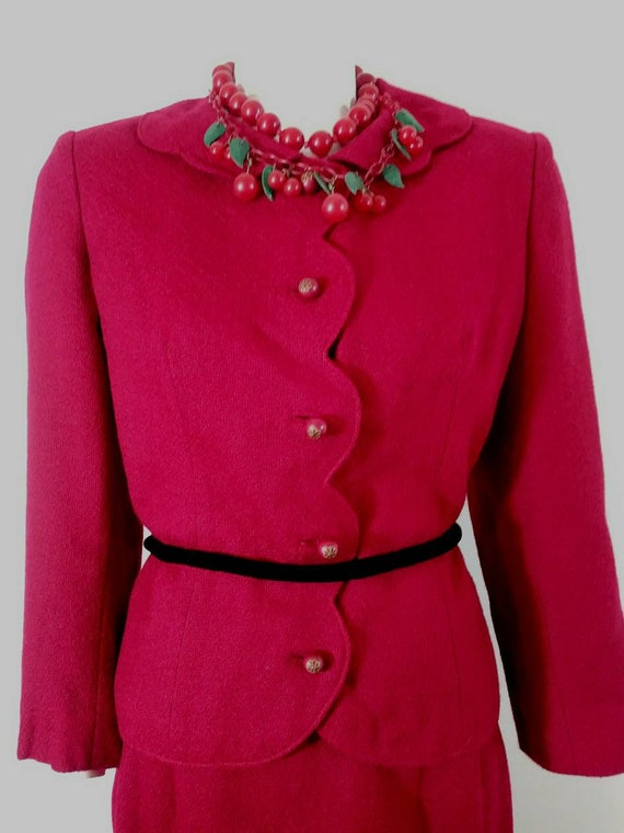 Vintage 50s cherry red suit / 50s skirt suit / 50s