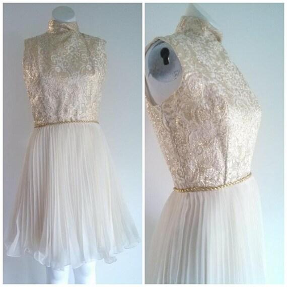 vintage 60s party Dress / vintage gold lame dress… - image 1