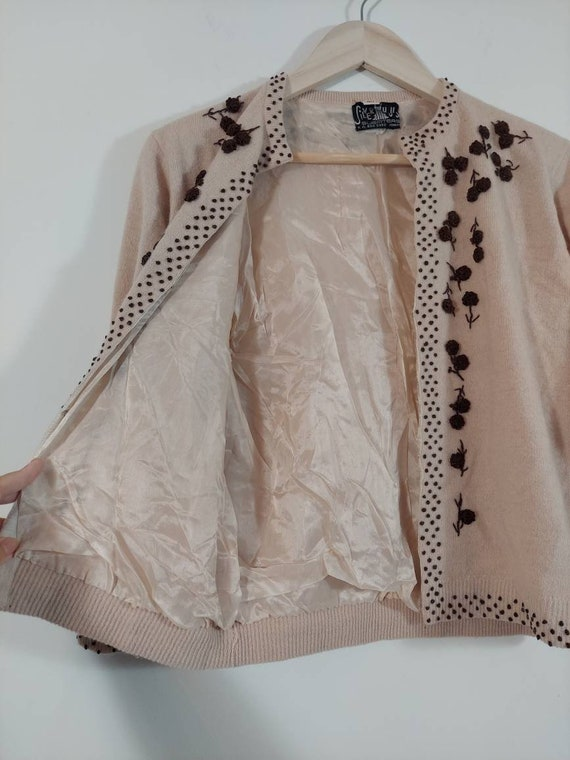 Vintage 50s cardigan / 50s angora sweater / 50s p… - image 5