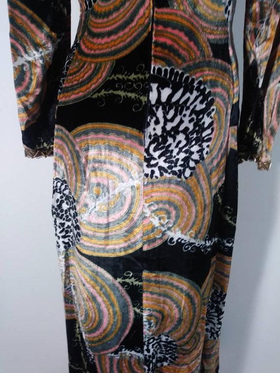 Vintage 60s velvet psychedelic cult dress / 60s m… - image 9