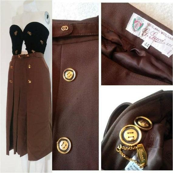 vintage GUCCI skirt / Gucci 70s high waisted skirt