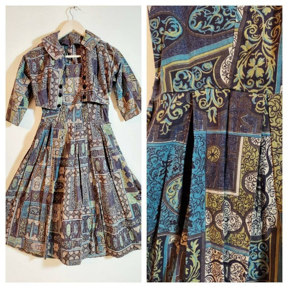 vintage 50s dress and jacket set / 50s cotton dres