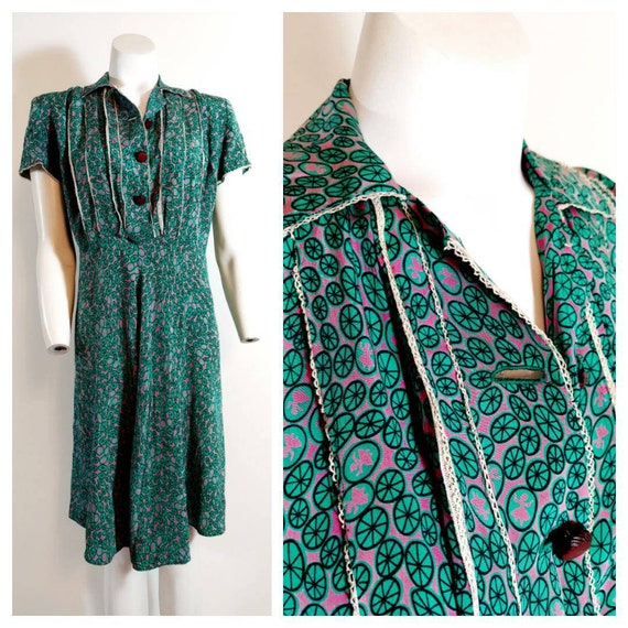 Vintage 30s 40s silk rayon dress / 40s novelty pri