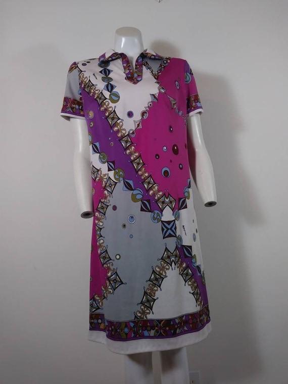 70s signed Saul dress / Pucci print style dress /… - image 2