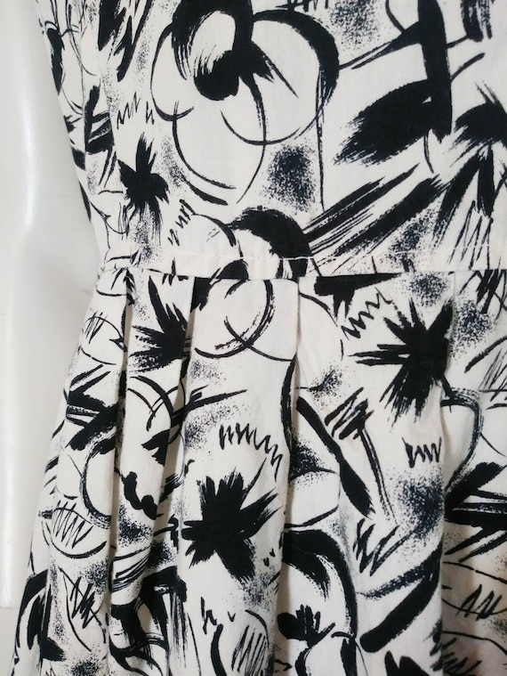 Vintage 50s abstract dress / 50s black and white … - image 5