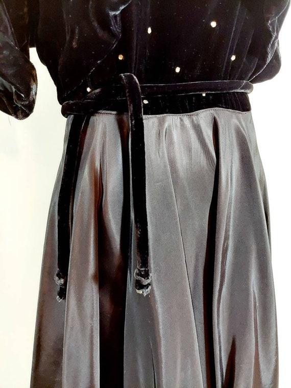 Vintage 40s velvet dress jacket set / 40s cropped… - image 5