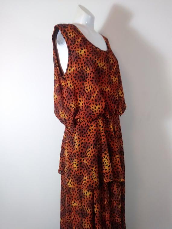 Vintage plazzo jumpsuit / vintage animal print jum