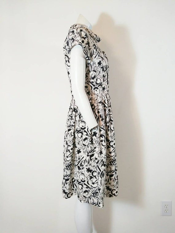 Vintage 50s abstract dress / 50s black and white … - image 6