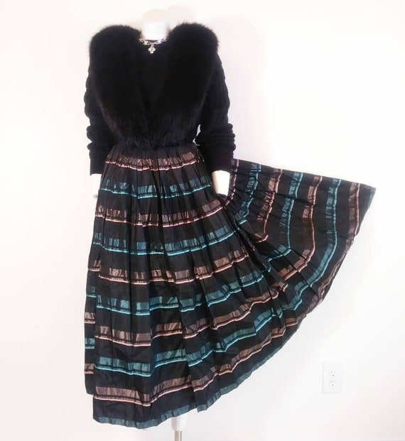 Vintage 50s striped skirt / 50s pleated skirt / 50