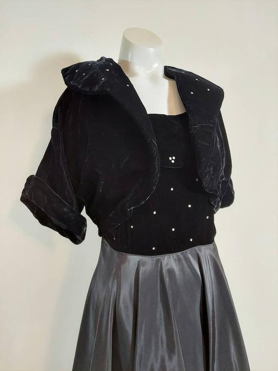 Vintage 40s velvet dress jacket set / 40s cropped… - image 3