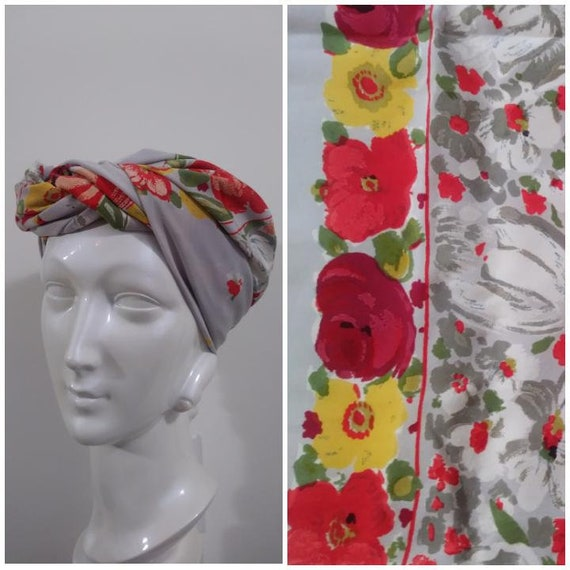 fab 40s silk rayon scarf / 40s floral scarf  / 40s