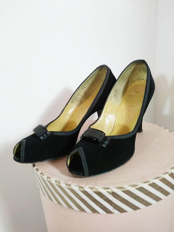 Vintage 50s heels / 50s Peep Toe Heels / vintage 5