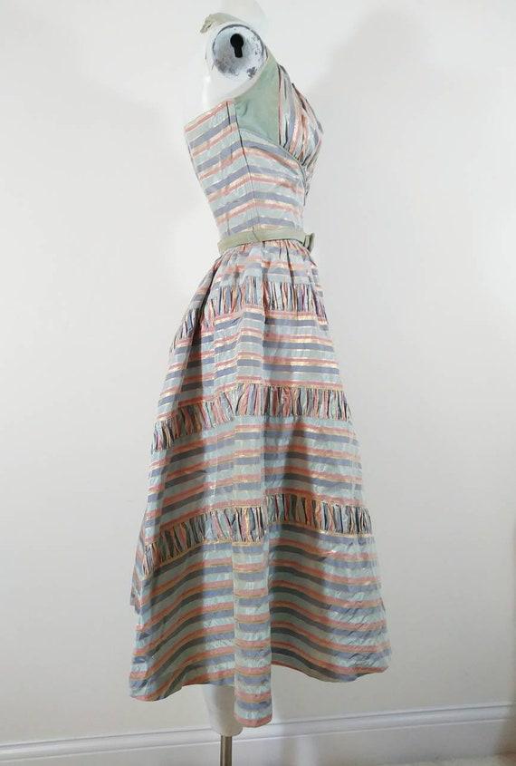 Vintage 50s cotton candy halter dress / 50s party… - image 8