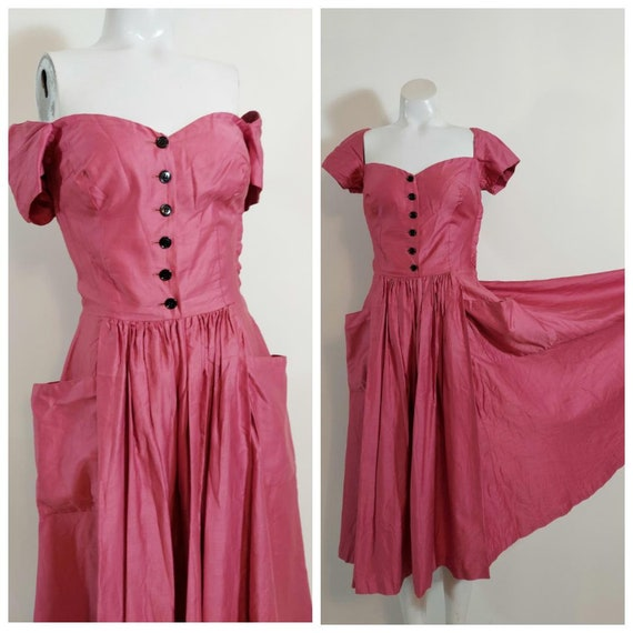 Vintage 40s pocket dress / full circle skirt dress