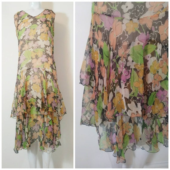 1920s 20s silk chiffon dress / 20s sheer floral dr