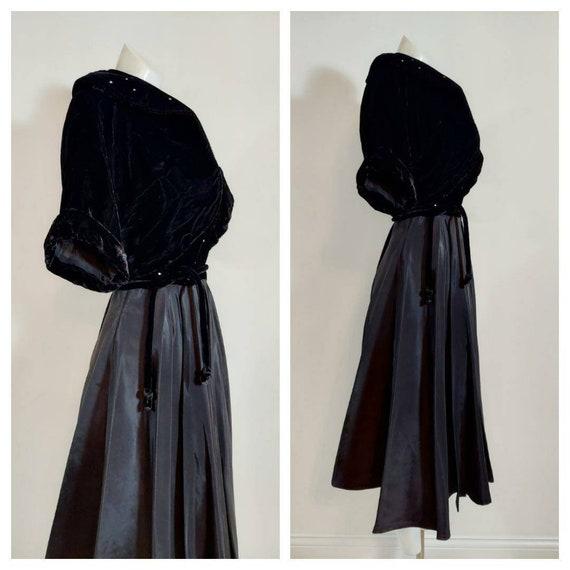 Vintage 40s velvet dress jacket set / 40s cropped… - image 7