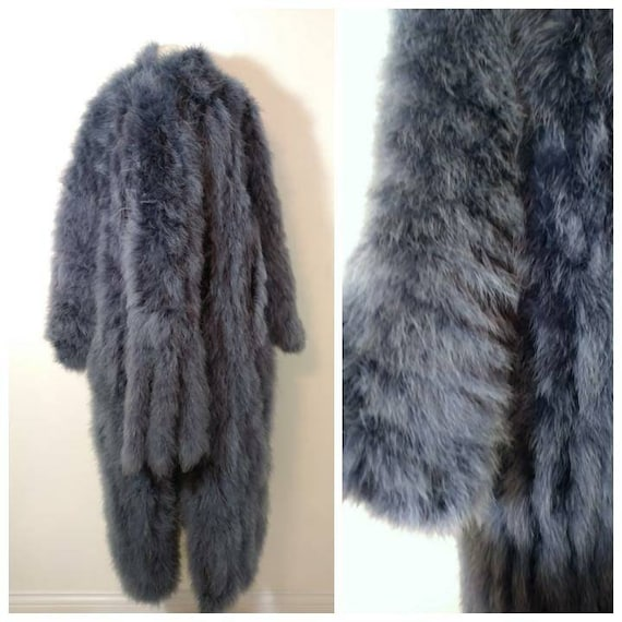 Vintage marabou feather duster robe coat jacket /