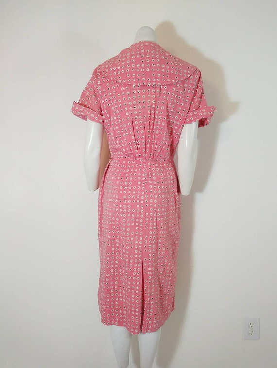 Vintage 40s cotton dress / 40s house dress / 40s … - image 10