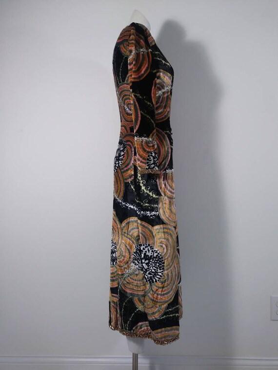 Vintage 60s velvet psychedelic cult dress / 60s m… - image 7