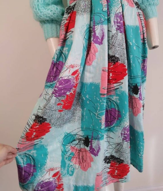 50s style cotton skirt / 80s abstract skirt / Roc… - image 3