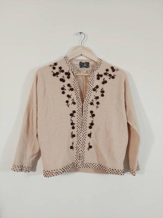 Vintage 50s cardigan / 50s angora sweater / 50s p… - image 4
